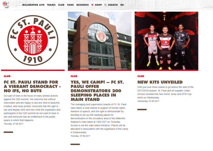 St Pauli Website